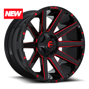 CONTRA 5LUG 20x10 ET 18 GLOSS BLK N CANDY RED A1 300 NEW 8304