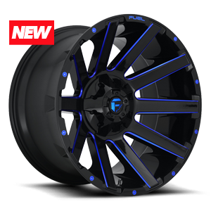 CONTRA 6LUG 20x10 ET 18 GLOSS BLK N CANDY BLUE A1 300 NEW 3658
