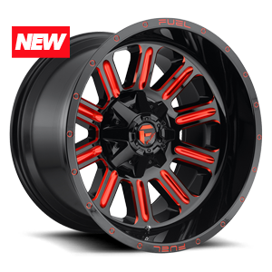 HARDLINE 20x12 ET 44 GLOSS BLK N CANDY RED A1 300 2612x 6528