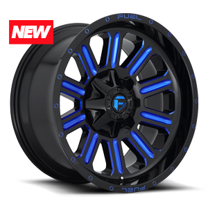 HARDLINE 8LUG 20x10 ET 18 GLOSS BLK N MILLED CANDY BLUE A1 300 NEW 9813