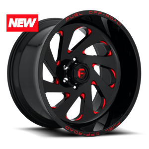 VORTEX 6LUG 22x12 GLOSS BLK W CANDY RED A1 300 NEW 3097